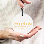 Gold and White Personalised Babies First Christmas ornament