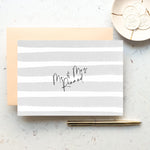 Personalised Mr & Mrs Stripe Notecard Set