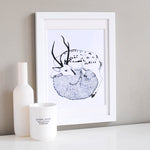 Deer & Wolf Illustration Print