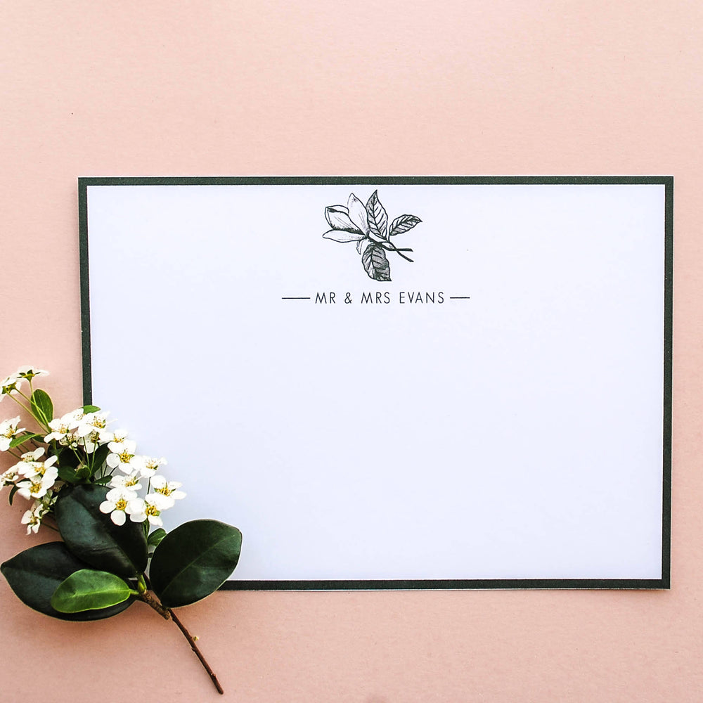 Green Magnolia Personalised Wedding Stationery Set