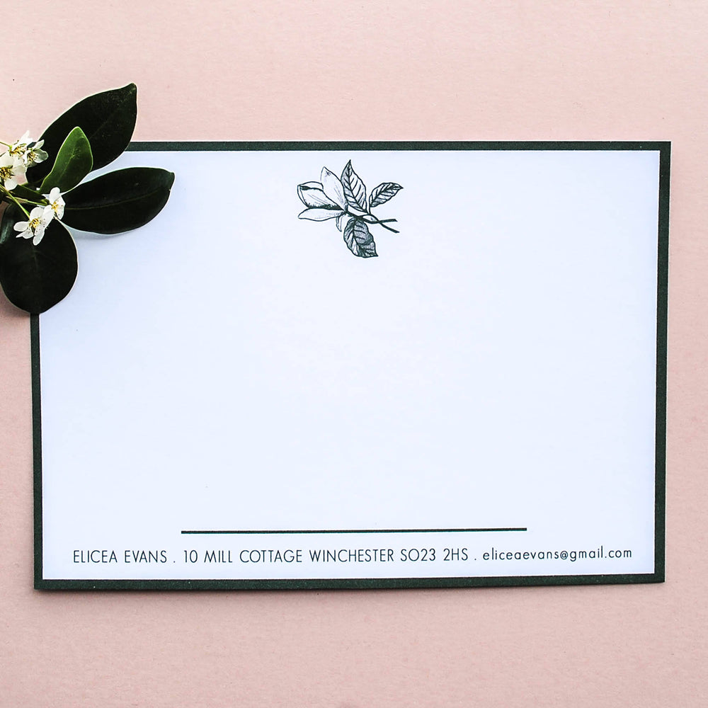Green Magnolia Personalised Name Stationery Set