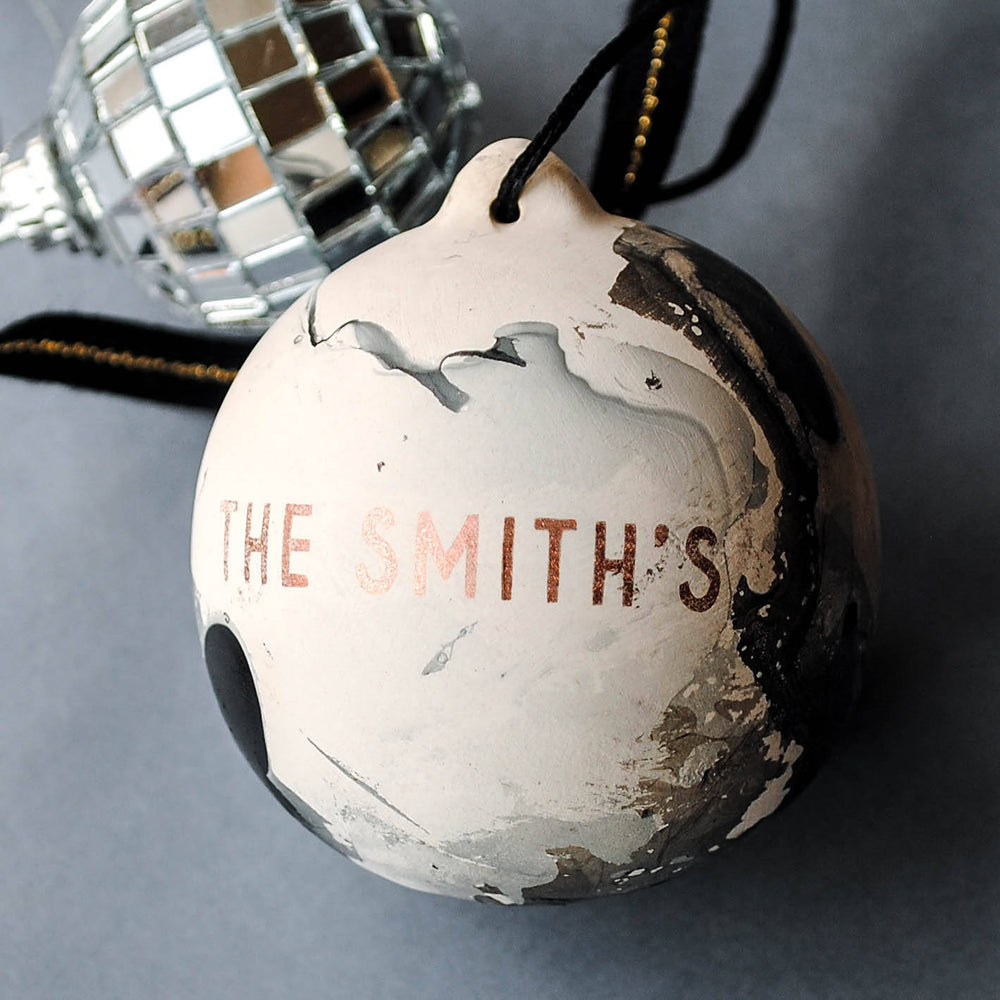 Copper and Marble Personalised Family Name Bauble