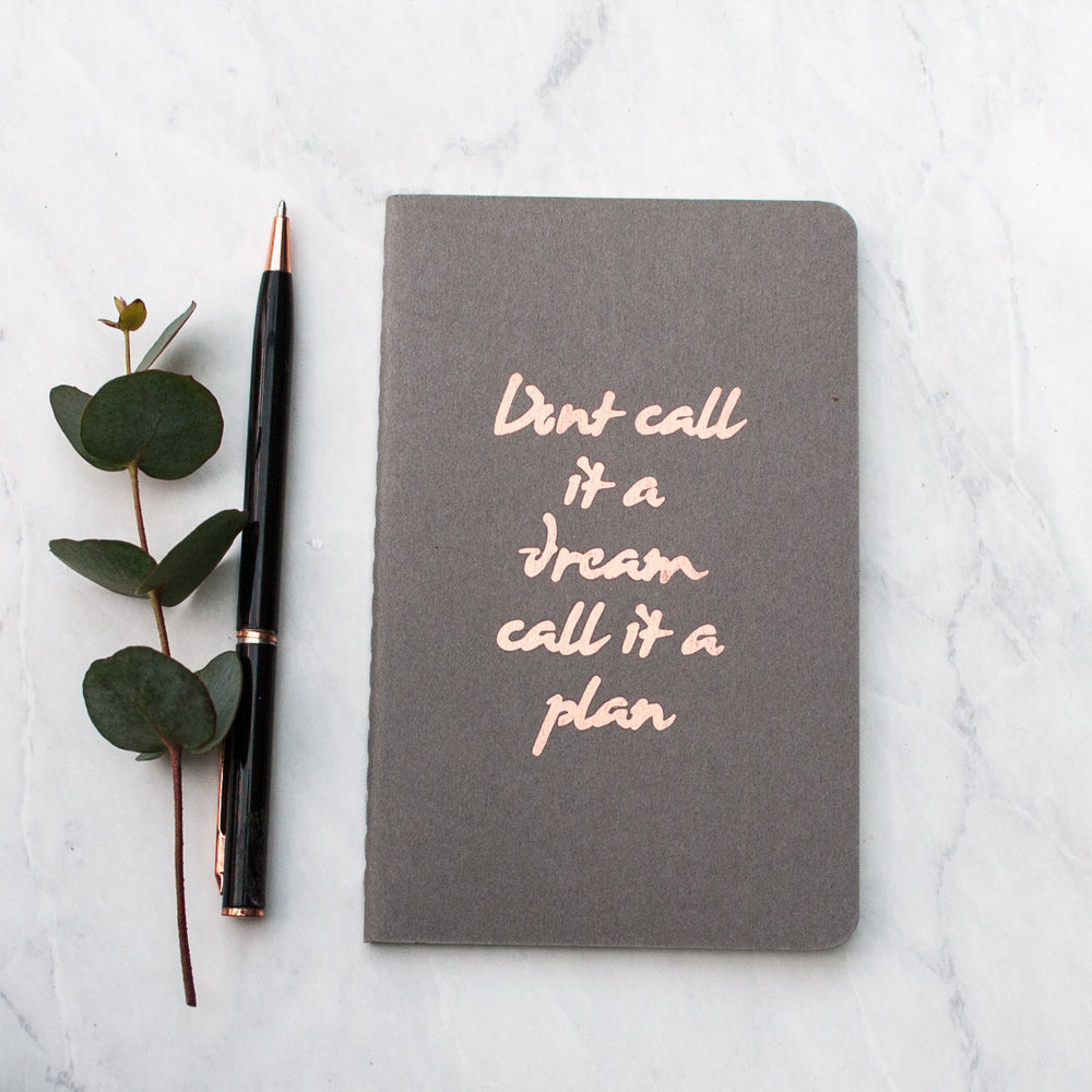 Luxury Hand Printed Quote Copper Moleskine Notebook