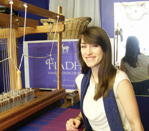 Fiadh Durham, Handweaver at her loom in her design studio in Dingle