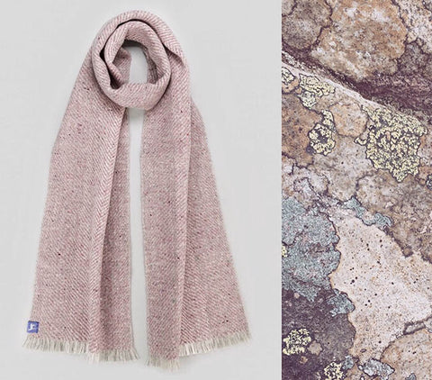 Fiadh's large light dusty pink-mauve woven scarf with light ombre grey stripe alongside the stripe sandstone that inspired the colours
