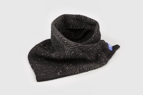 100% super soft Merino silky black wool woven across light ombre graduating grey stripes to make a gorgeous dark twill triangle scarf shawl, handmade in Dingle