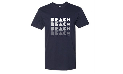 Beach Adult T-Shirt - Navy with White Lettering