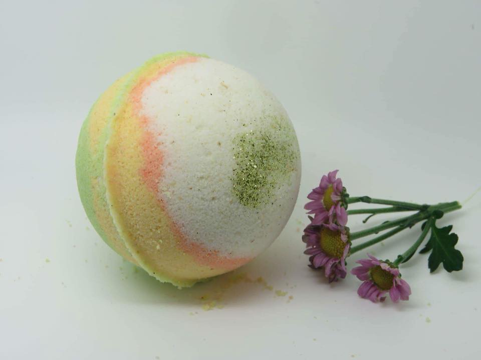 Milk & Oatmeal Bath Bomb Scented with Orange Tangerine.