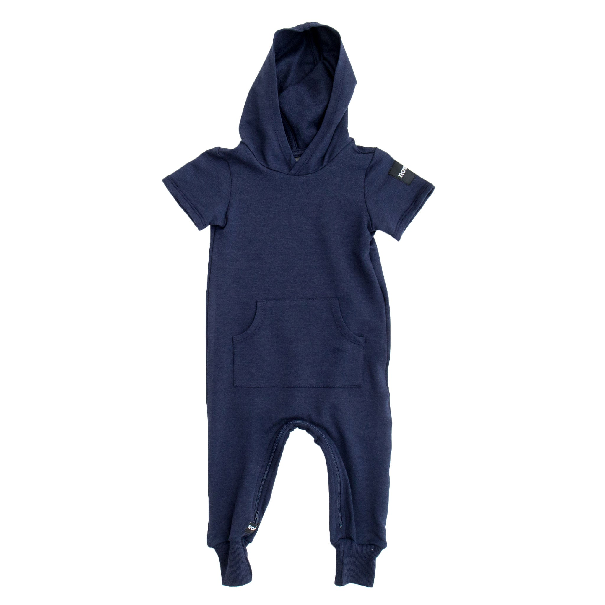 The Short Sleeve Hooded Terry Zomper in Navy