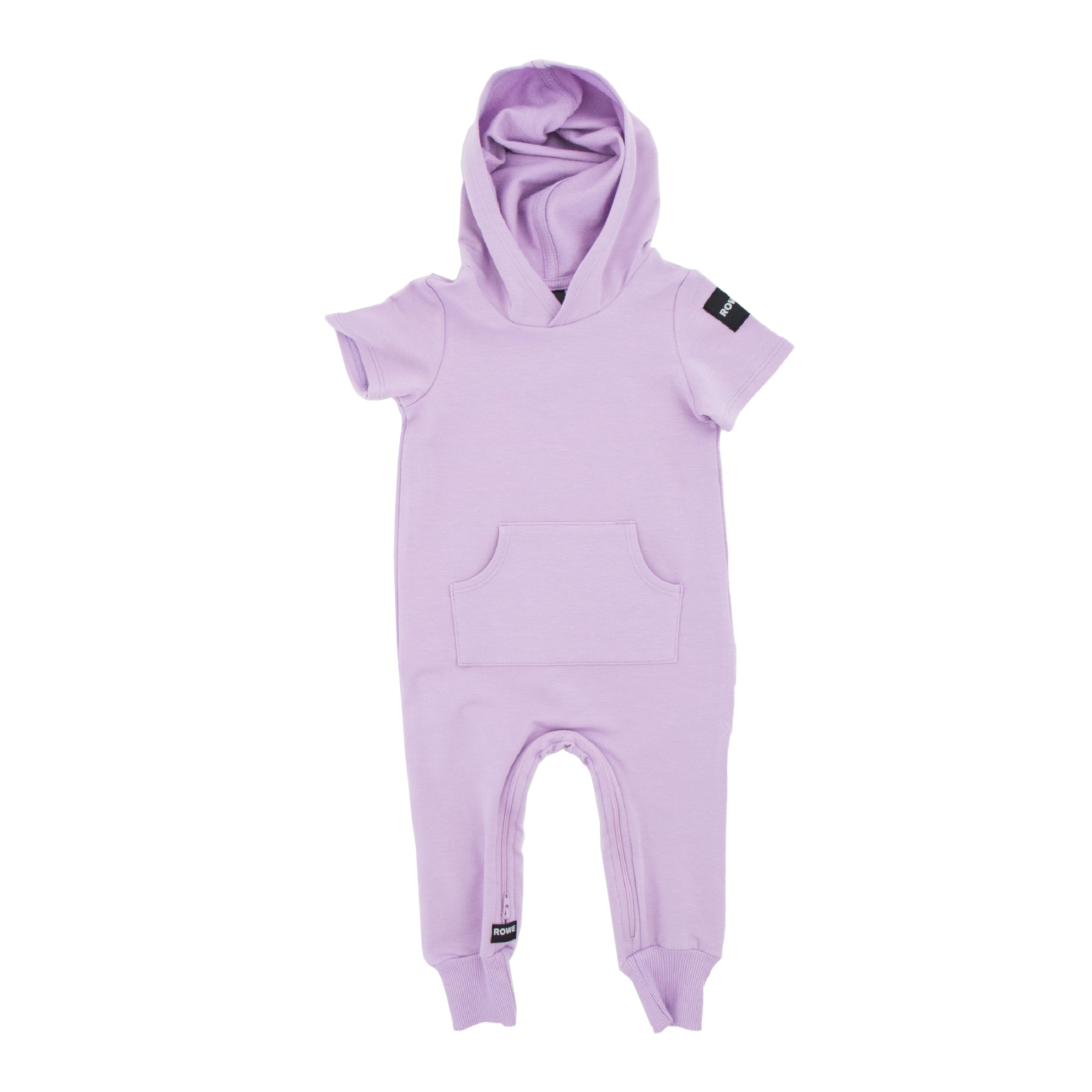 The Short Sleeve Hooded Terry Zomper in Lavender