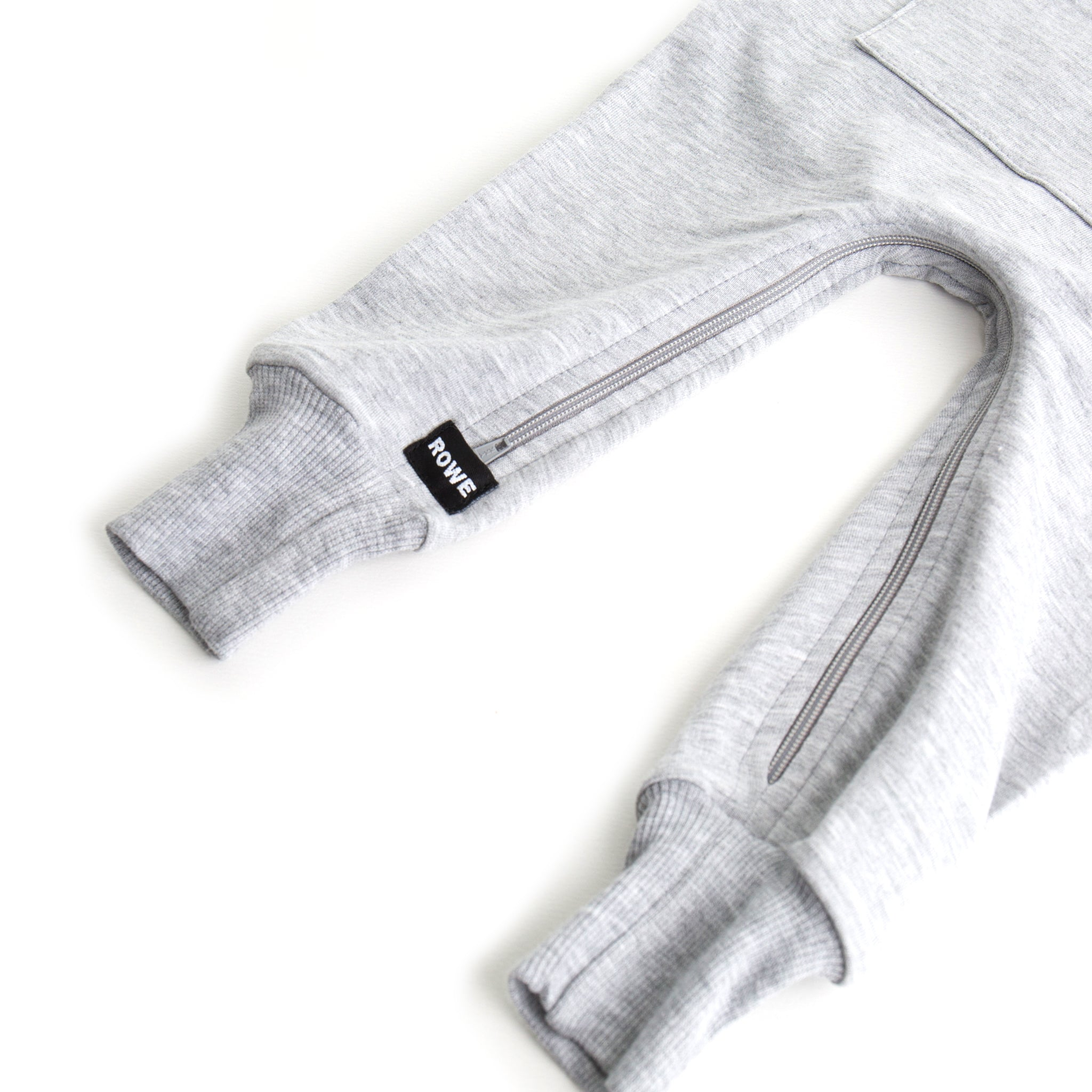 The Short Sleeve Hooded Terry Zomper in Heather Grey