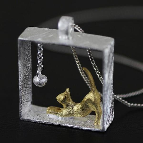 NEW Cat In The Box Necklace Silver & Gold