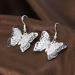 Butterfly Fashion Earrings Silver
