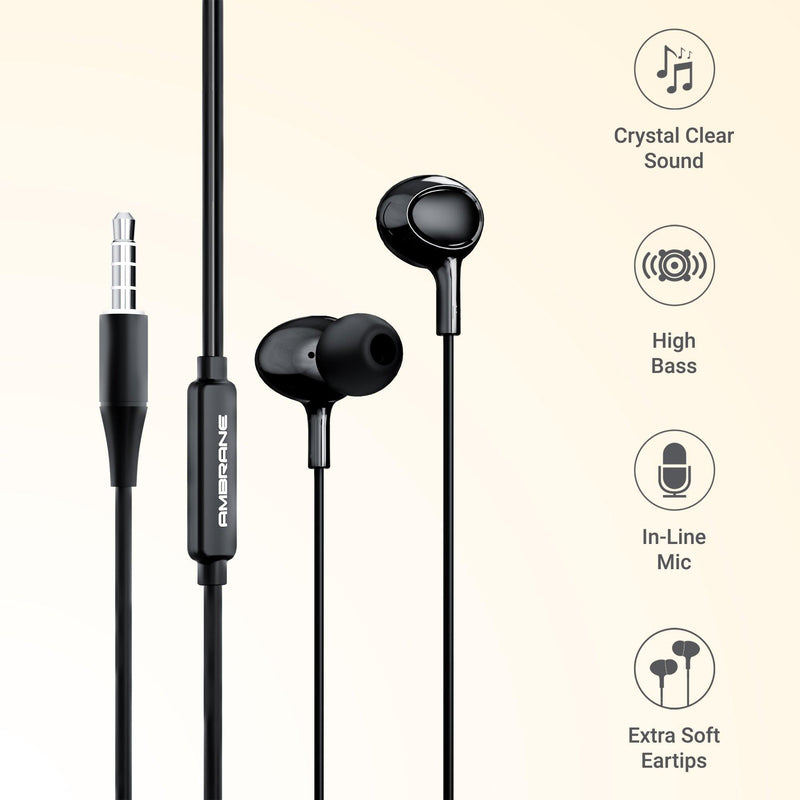 Ambrane Stringz 11 Wired Earphone (Black)