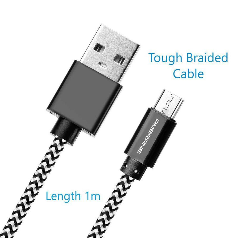 CBM-15 Micro USB Braided Cable 1.5 Meter (White-Black)