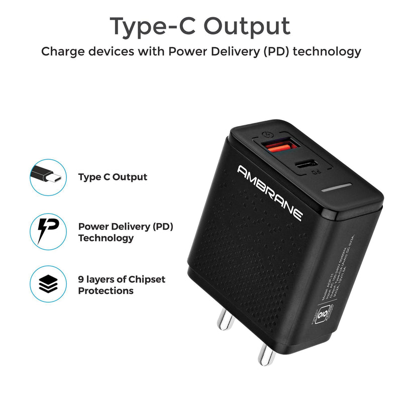 ACP-11 Quick Charge 3.0 + PD Charger Wall Charger (Black) - AmbraneIndia