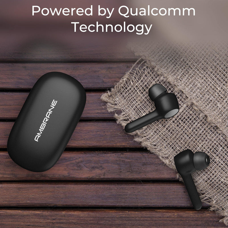 Ambrane VibeBeats Qualcomm True Wireless Stereo Earphones with HD Sound, 30 hrs Playtime with Case, Noise Free Calling, Water Splash Proof & Siri/Google Assistant (Black)