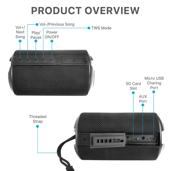 Ambrane BT-83 (10 Watt Portable Bluetooth Speaker) - Black - AmbraneIndia