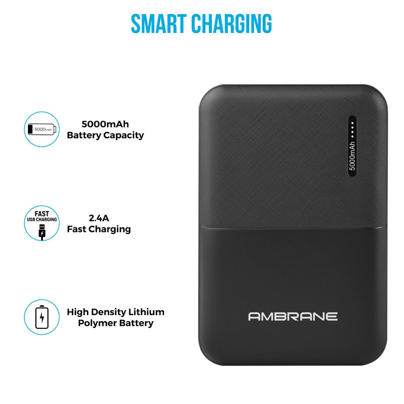 Capsule 5K (5000 mAh) Lithium Polymer Power Bank (Black), Fast Charging Power Bank - AmbraneIndia