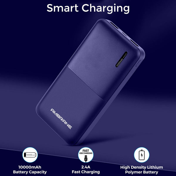 Capsule 10K (10000 mAh) Li-Polymer Powerbank with Compact Size & Fast Charging for Smartphone, Smart Watches, Neckbands & Other Devices, Made In India (Blue) - Ambrane India Pvt Ltd