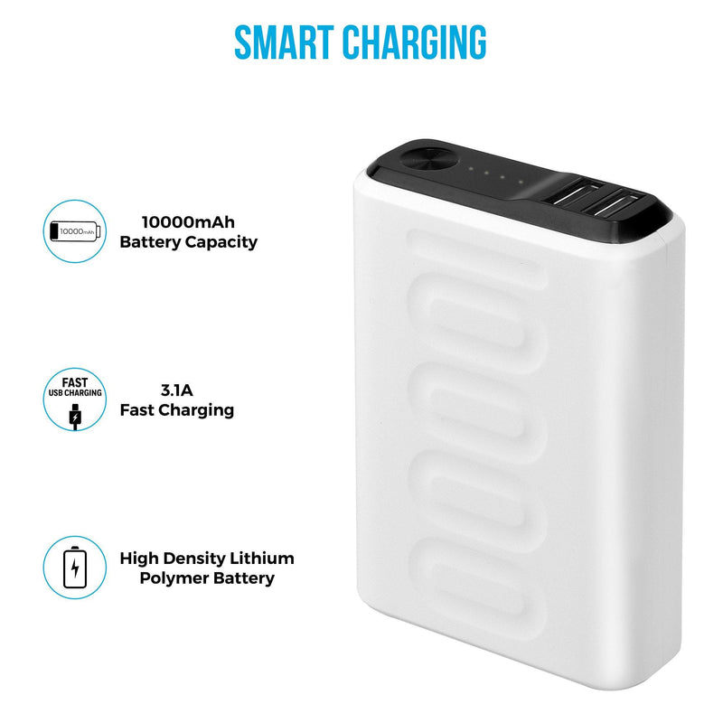Stylo 10F 10,000 mAh QC 3.0 & PD Technology Enabled Lithium Polymer Power Bank (PP-107, White)