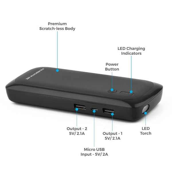 P-1250 12500 mAh Power Bank (Blue) - AmbraneIndia