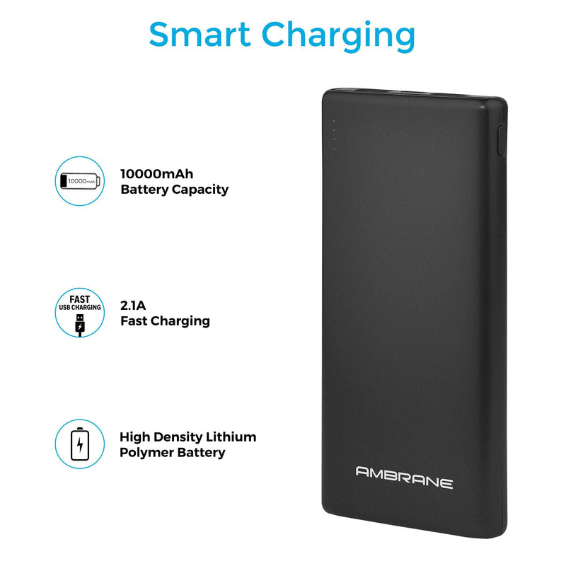 PP-125 10,000 mAh Lithium Polymer Power Bank (Black) | Best PowerBank in 10000mAh - AmbraneIndia