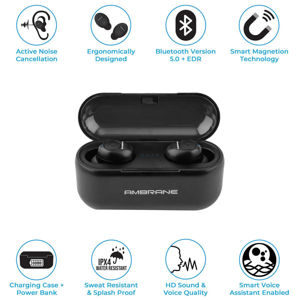 Ambrane TruPods Smart Voice Assistant Enabled True Wireless Earphones (ATW-29, Black)