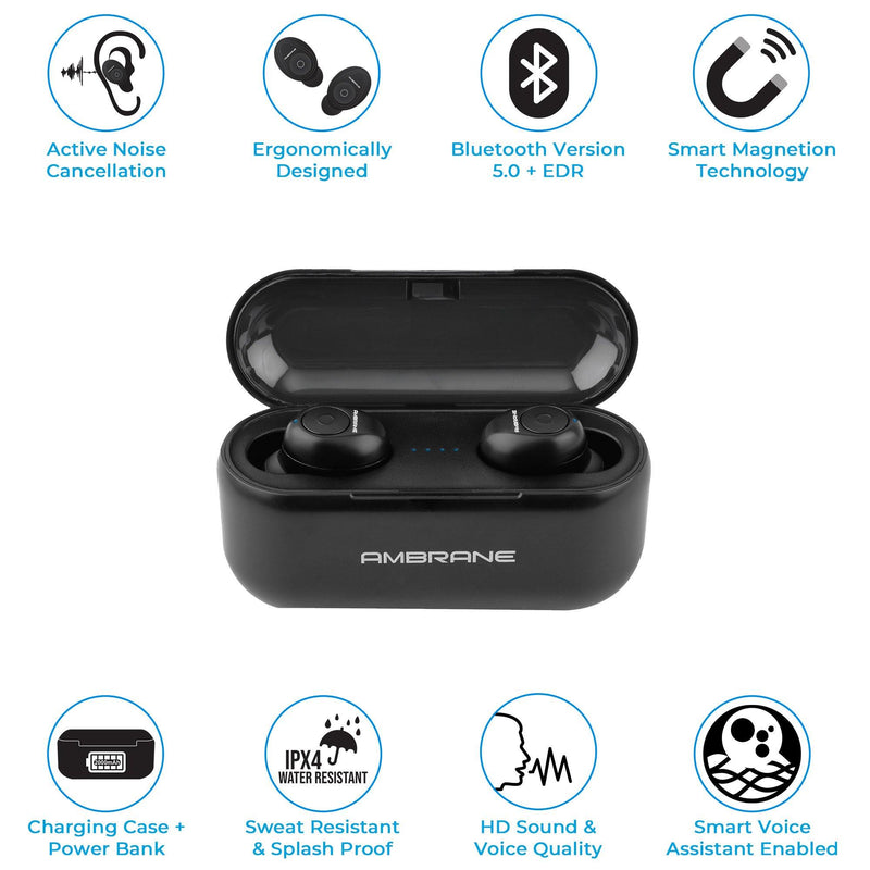 Ambrane TruPods Smart Voice Assistant Enabled True Wireless Earpods (ATW-29, Black)