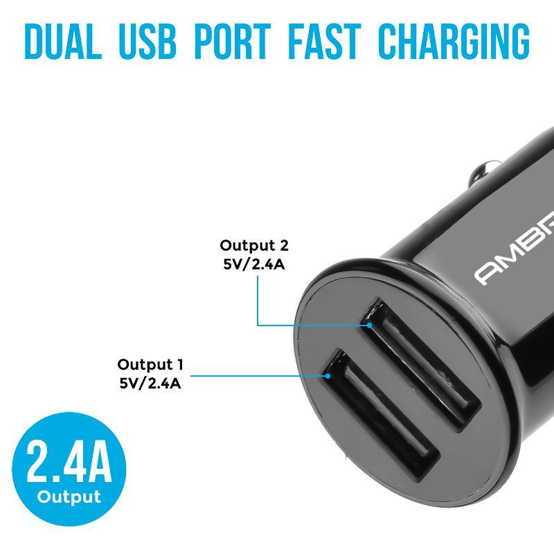 ACC-56 Dual USB Port Compact Size Car Charger (Black) - Ambrane India Pvt Ltd