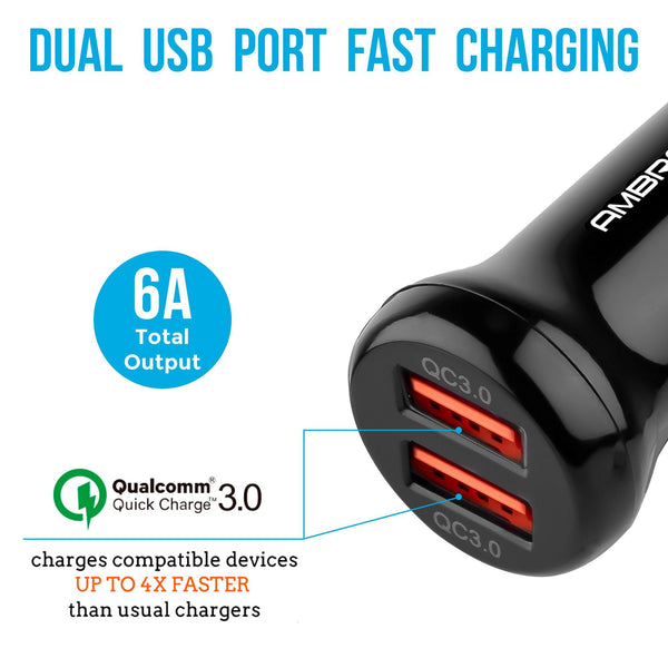 ACC-29 QC 3.0 Dual Port Car Charger (Black) - AmbraneIndia