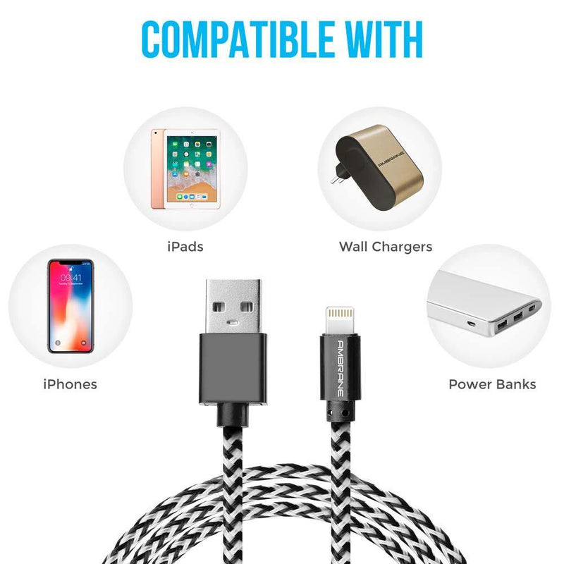 CBL-15 iPhone Lightning Braided Cable 1.5 Meter (White-Black)
