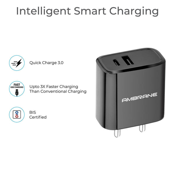 ACP-29 Quick Charge 3.0 + PD Charger Wall Charger - AmbraneIndia