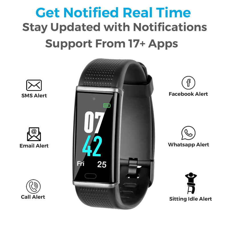 AFB-38 Smart Fitness Band with Color Display & Heart Rate Monitor (Black)