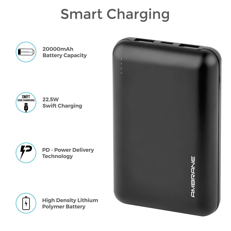 PowerLit XL 20000 mAh Polymer PowerBank with type C port (Black)