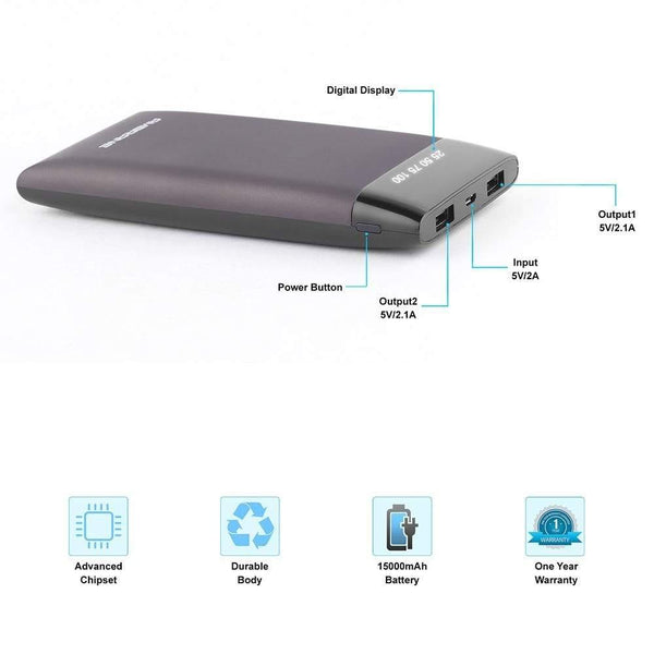 Ambrane Plush PP-15 (15000mAh) Power Bank (Grey)