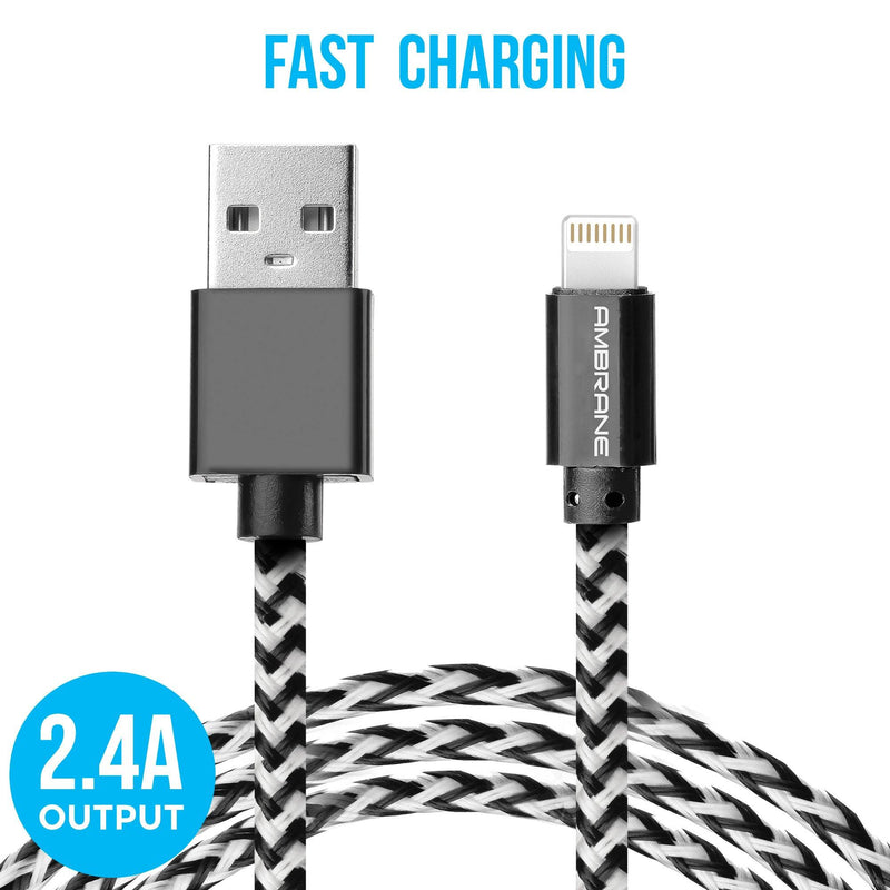 ABCL-15 iPhone Lightning Braided Cable (1.5 Meter) (Black & White) - Ambrane India Pvt Ltd