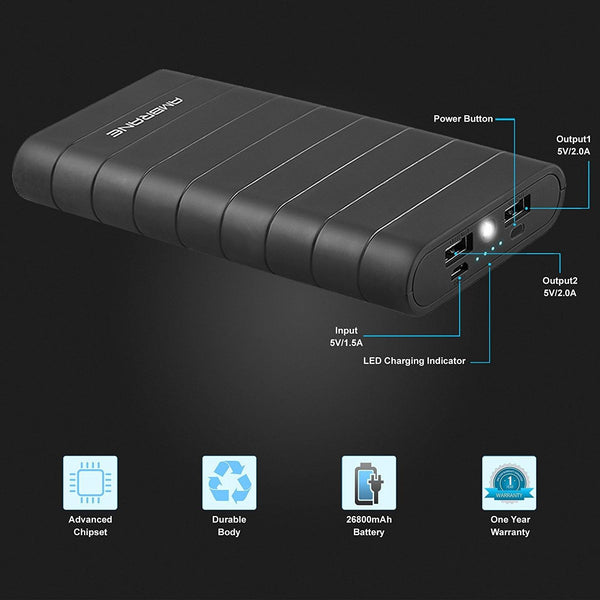 Knock Out K-8 (26800mAh) Power Bank (Black)