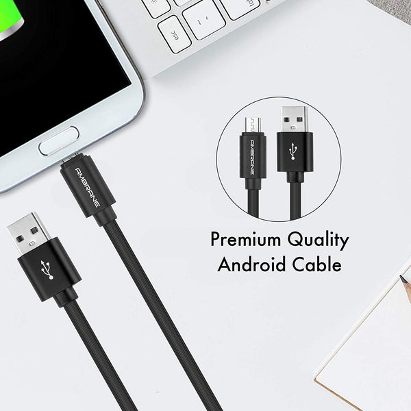 ACM-29 2.4A Round Micro Fast Charging Cable and Sync Cable (Black)