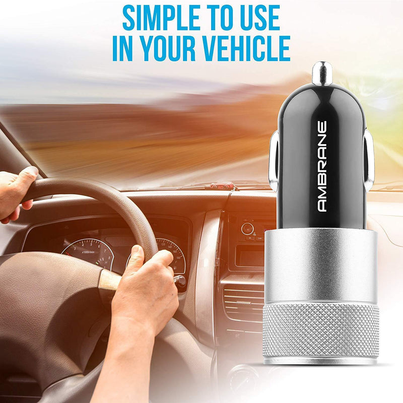 ACC-74-M Dual Port Car Charger for All Smartphones (Black & Silver)