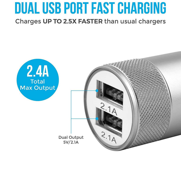 ACC-74-M Dual Port Car Charger for All Smartphones (Black & Silver) - AmbraneIndia