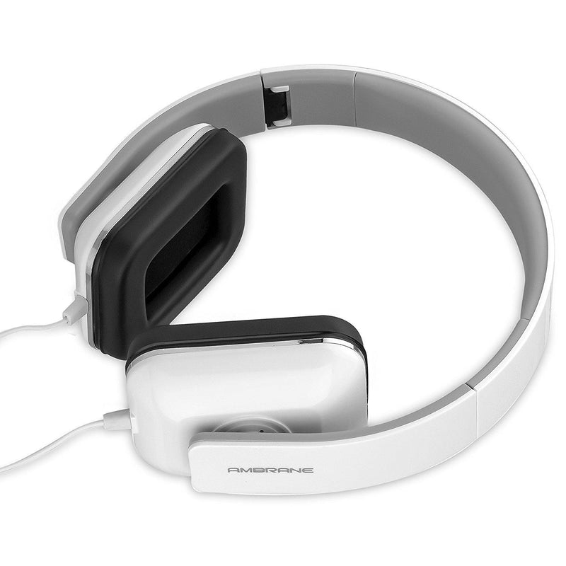 Ambrane HP-21 Wired Headset with Mic  (White, Over the Ear) - AmbraneIndia