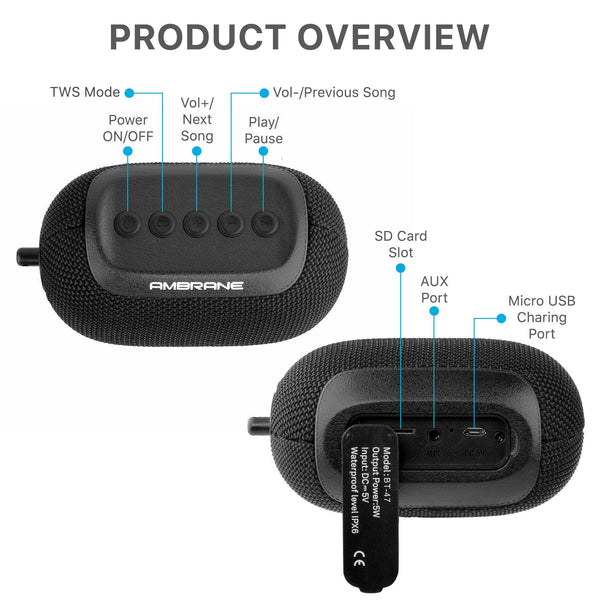 Ambrane BT-47 (5 Watt Portable Bluetooth Speaker ) - Black - AmbraneIndia
