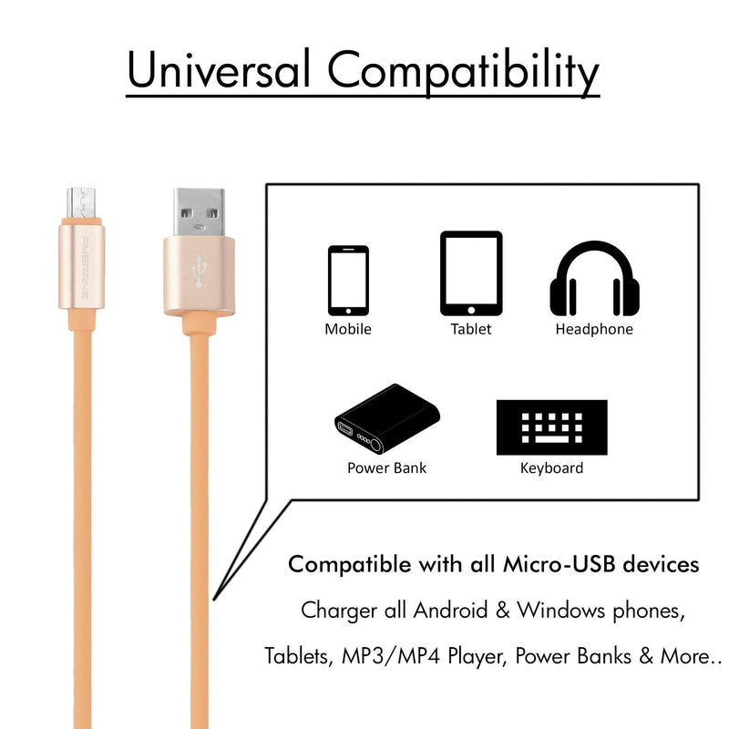 AAC- 44 Micro USB Rubberized Finish Charging Cable 1 Meter (Light Brown) - AmbraneIndia