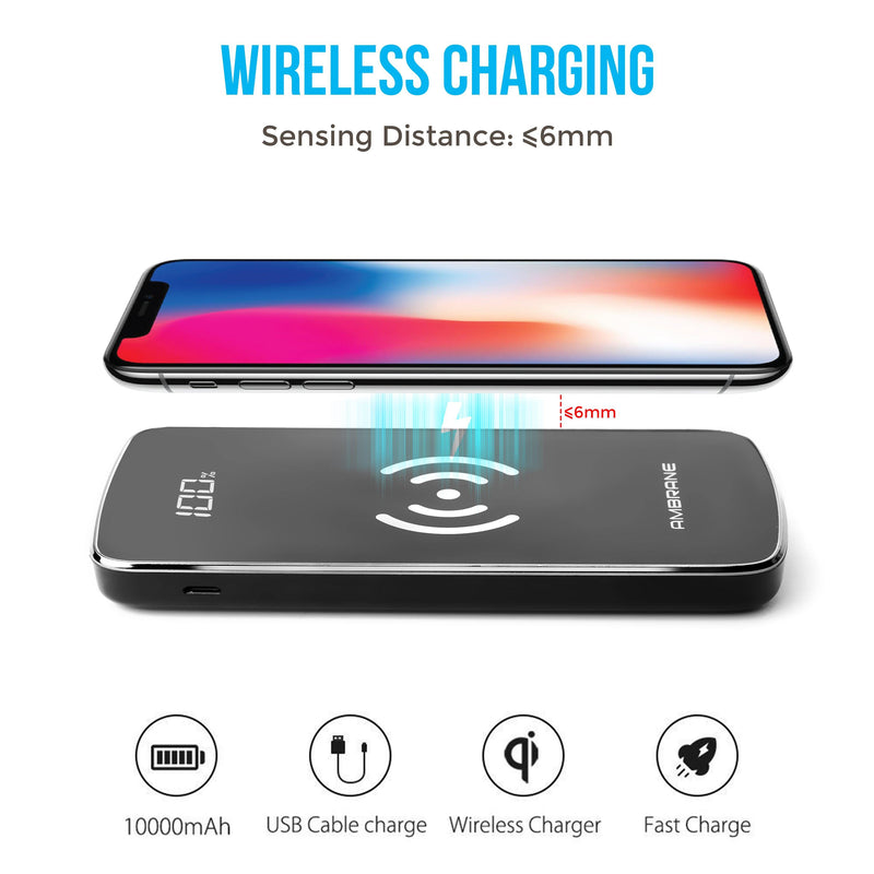 Ambrane PW-11 10000 mAh Wireless Power Bank with Qi Charging Technology