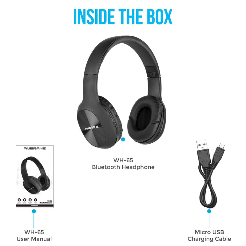 WH-65 Over The Ear Wireless Headphones With Mic, Wireless FM, Aux & SD Card Support (Black)