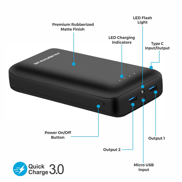PP-30 30,000 mAh Power Bank with QC 3.0 Technology (Black)