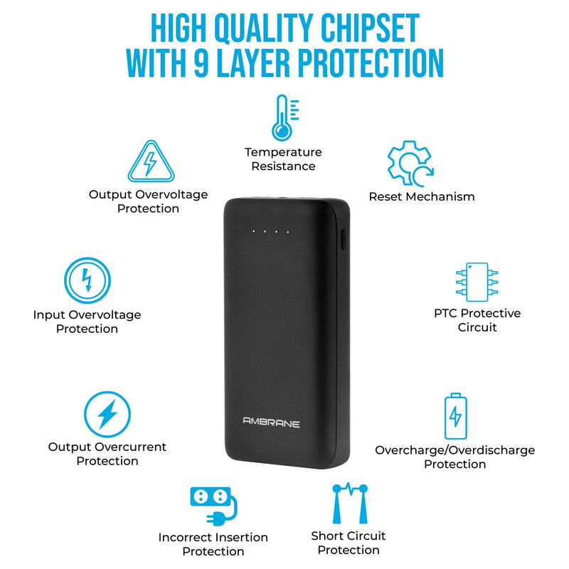 PP-30 30,000 mAh Power Bank with QC 3.0 Technology (Black) - Ambrane India Pvt Ltd