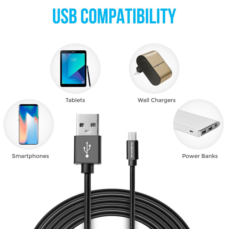 ACM-20 2.4A Micro USB Fast Charging Cable for Android Devices (2 Meter, 6 Feet) - (Black)