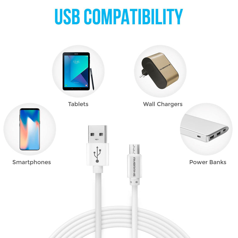 ACM-20  Micro USB Fast Charging Cable 2 Meter - (White) - Ambrane India Pvt Ltd